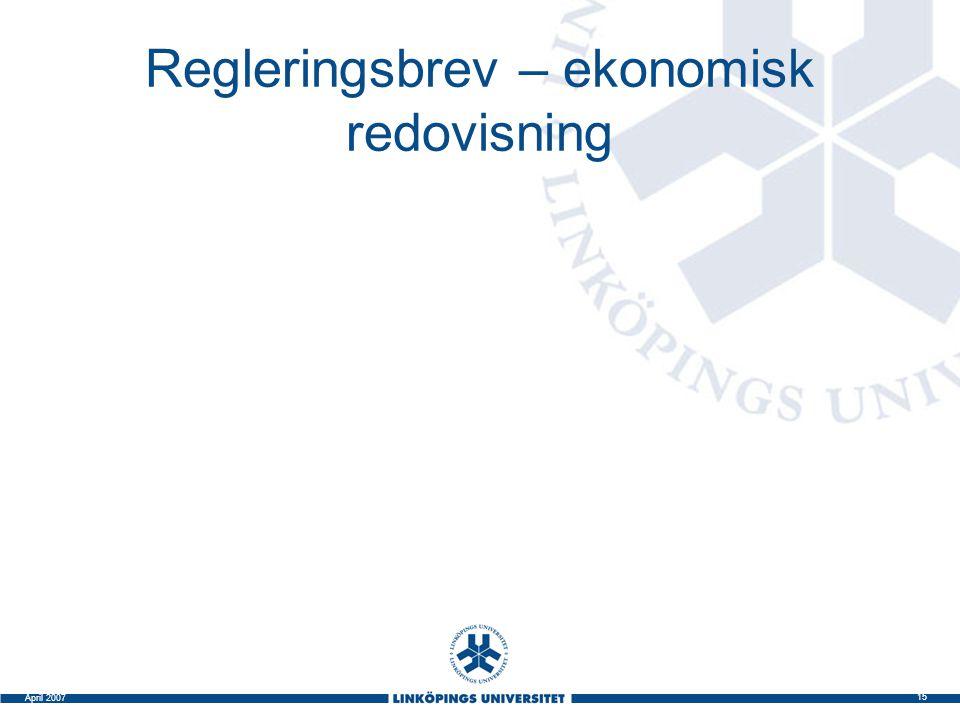 Regleringsbrev – ekonomisk redovisning