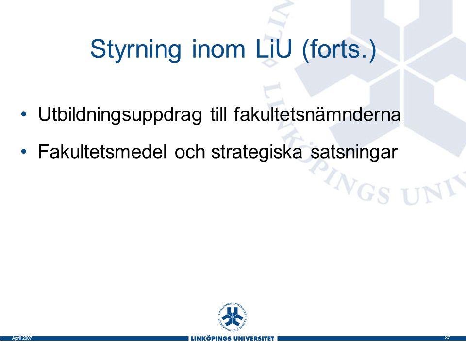 Styrning inom LiU (forts.)