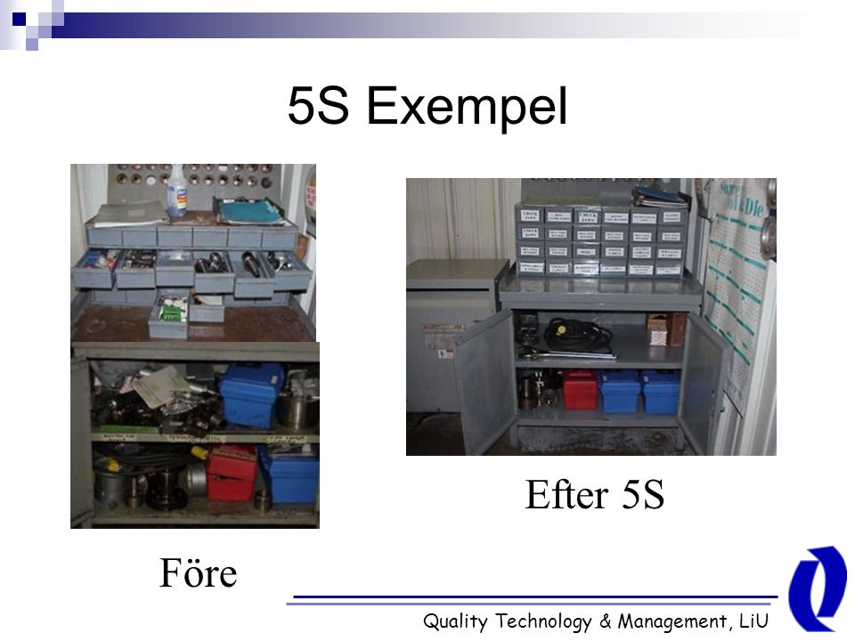 5S Exempel Efter 5S Före Quality Technology & Management, LiU