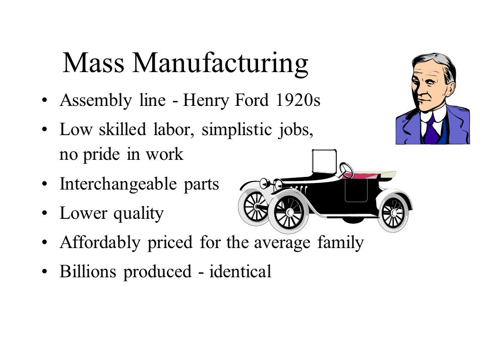 Mass Manufacturing Assembly line - Henry Ford 1920s