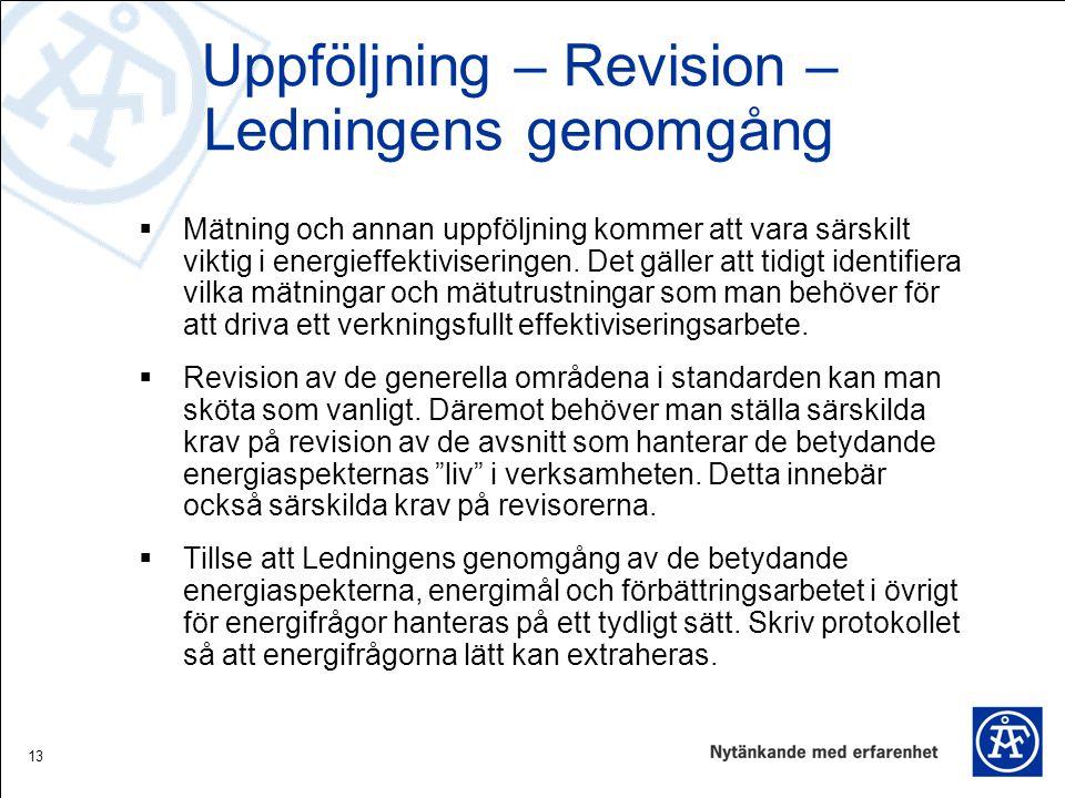 Uppföljning – Revision – Ledningens genomgång