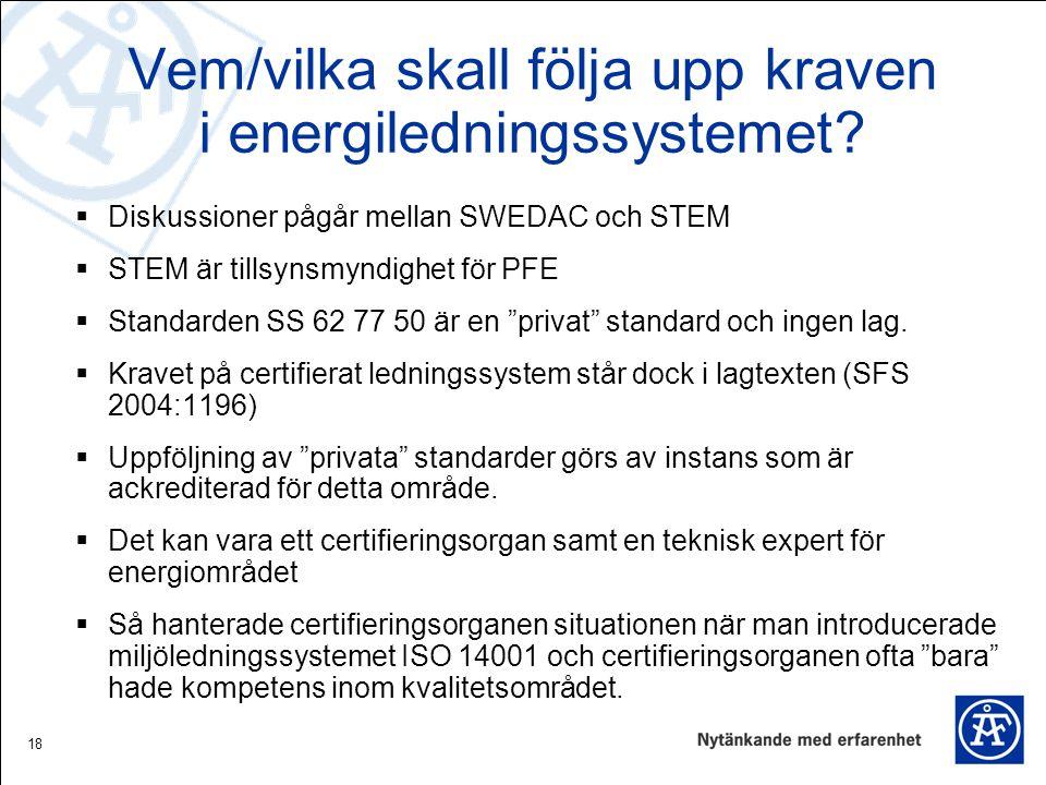 Vem/vilka skall följa upp kraven i energiledningssystemet