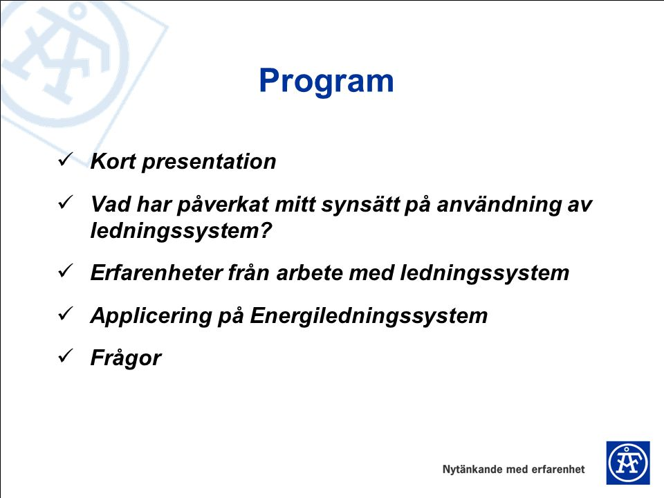 Program Kort presentation