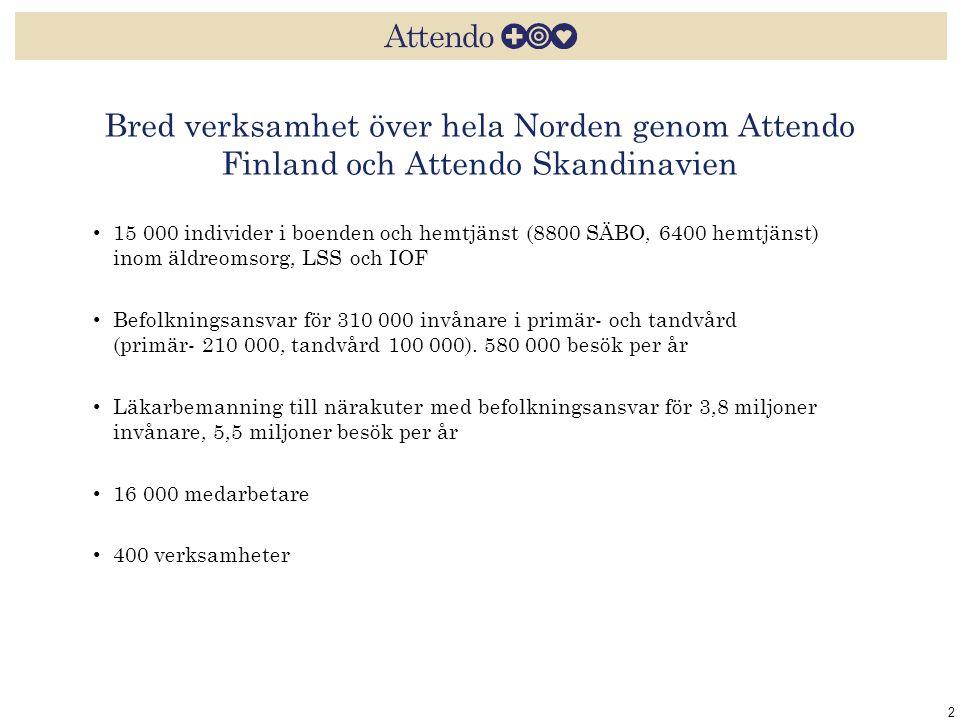 Bred verksamhet över hela Norden genom Attendo Finland och Attendo Skandinavien