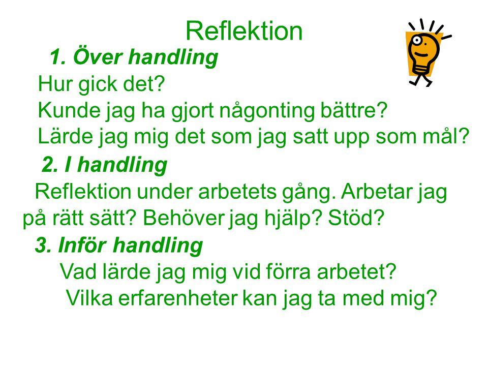Reflektion 1. Över handling Hur gick det