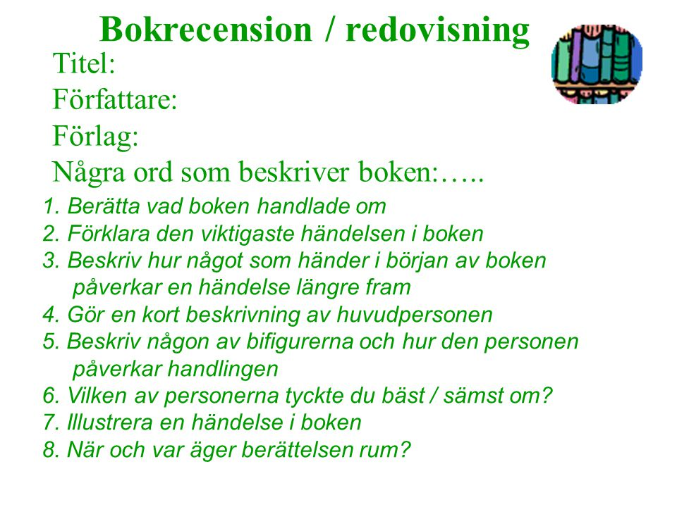 Bokrecension / redovisning