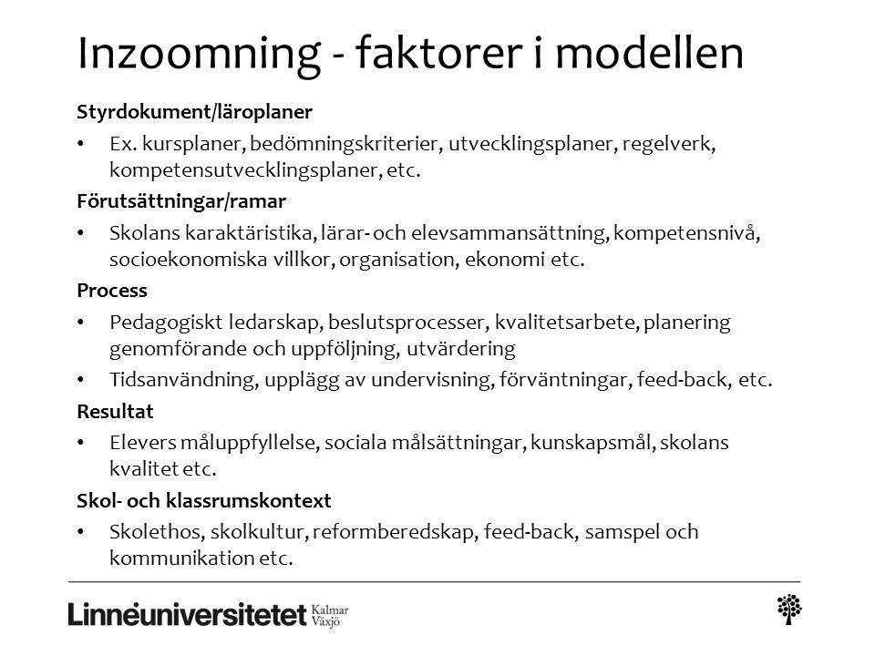 Inzoomning - faktorer i modellen