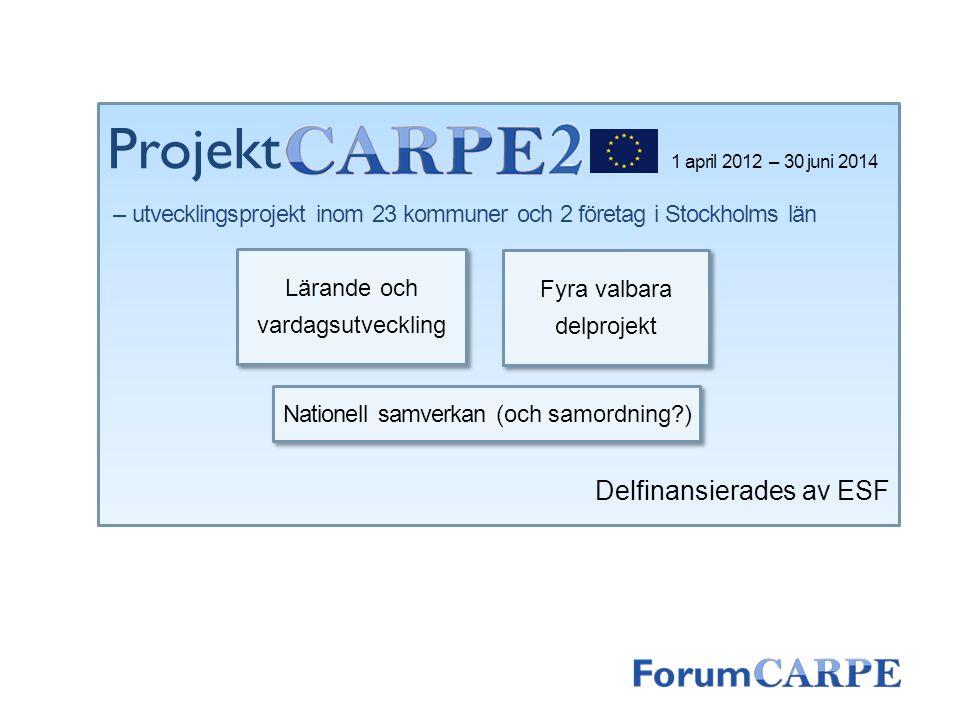 Projekt Delfinansierades av ESF Lärande och vardagsutveckling