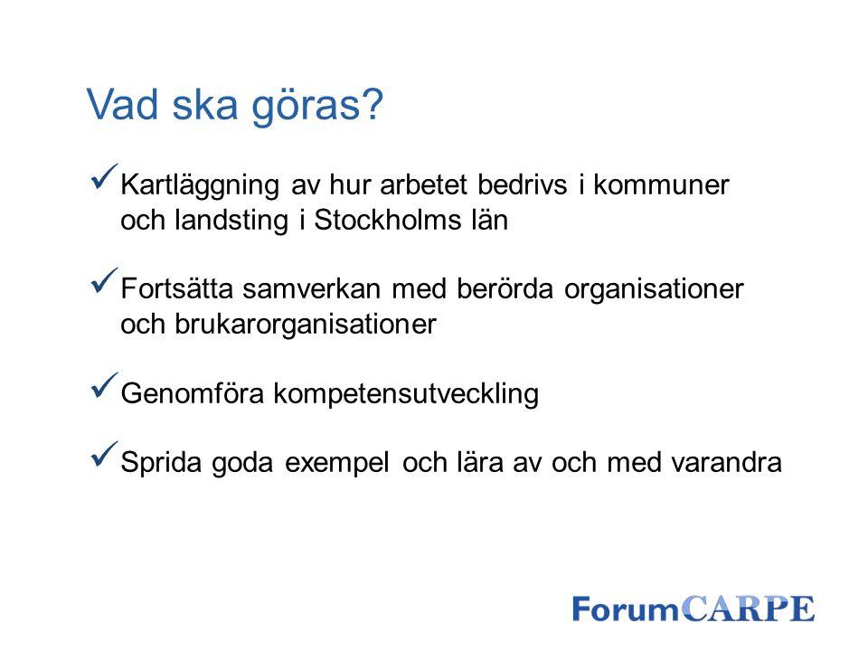 Vad ska göras Kartläggning av hur arbetet bedrivs i kommuner och landsting i Stockholms län.