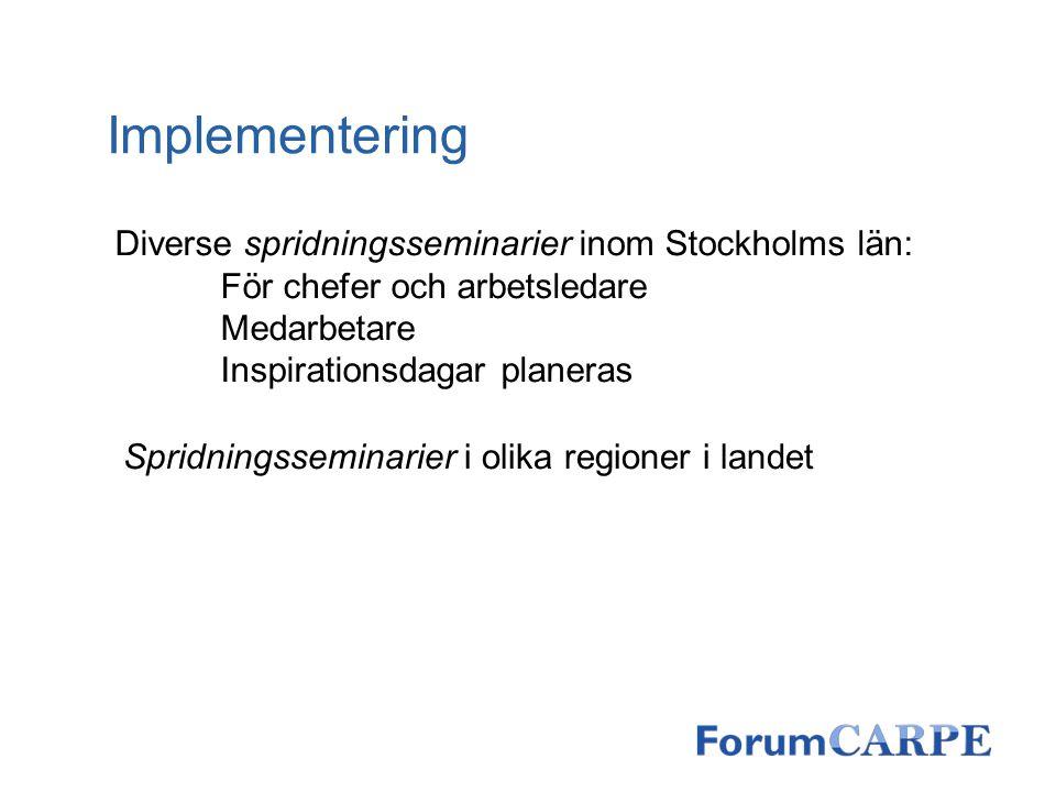 Implementering Diverse spridningsseminarier inom Stockholms län: