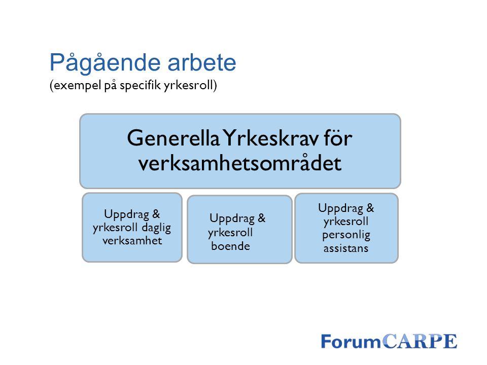 Pågående arbete Generella Yrkeskrav för verksamhetsområdet