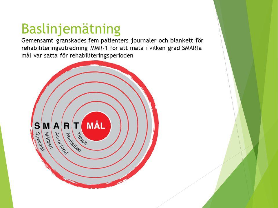 Baslinjemätning Gemensamt granskades fem patienters journaler och blankett för rehabiliteringsutredning MMR-1 för att mäta i vilken grad SMARTa mål var satta för rehabiliteringsperioden