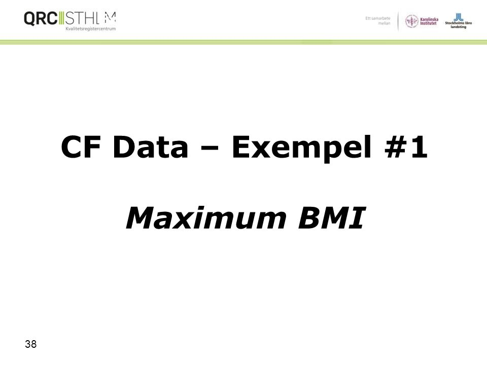 CF Data – Exempel #1 Maximum BMI