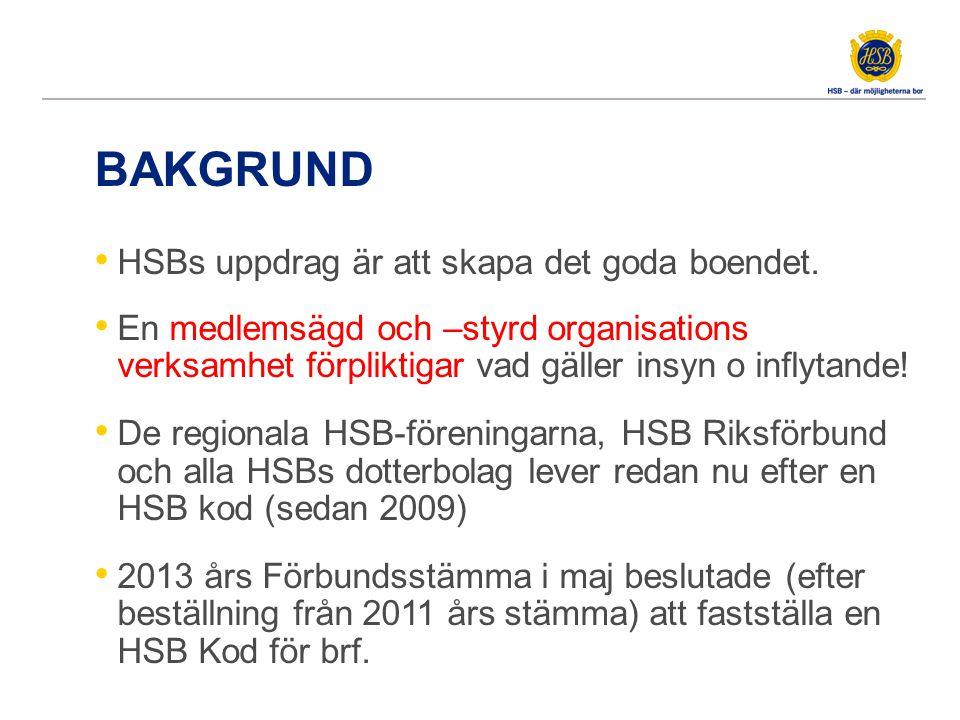 Idé Utgångspunkten för Koden är Våra kärnvärderingar i HSB (ETHOS) och de kooperativa principerna.