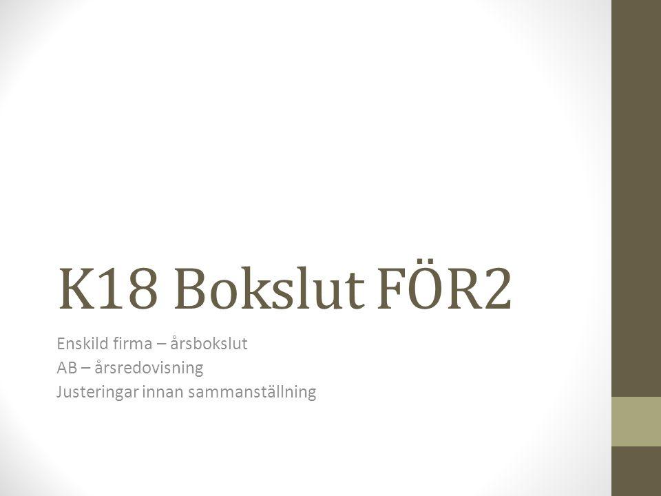 K18 Bokslut FÖR2 Enskild firma – årsbokslut AB – årsredovisning