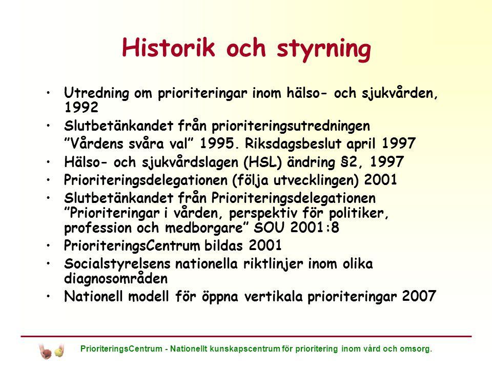 Historik och styrning Utredning om prioriteringar inom hälso- och sjukvården, 1992. Slutbetänkandet från prioriteringsutredningen.