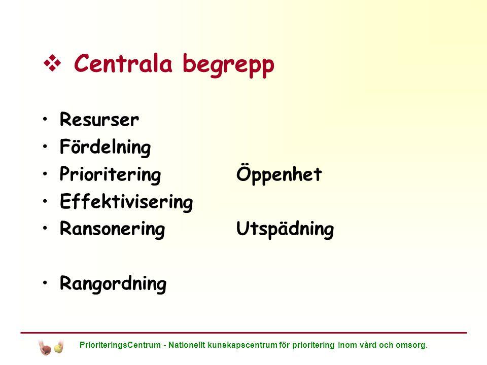 Centrala begrepp Resurser Fördelning Prioritering Öppenhet