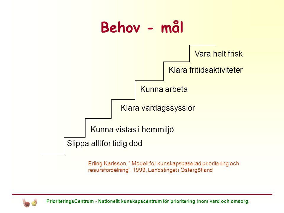 Behov - mål Vara helt frisk Klara fritidsaktiviteter Kunna arbeta