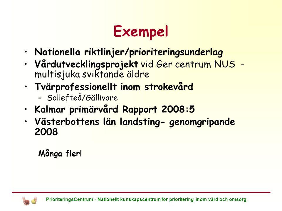 Exempel Nationella riktlinjer/prioriteringsunderlag