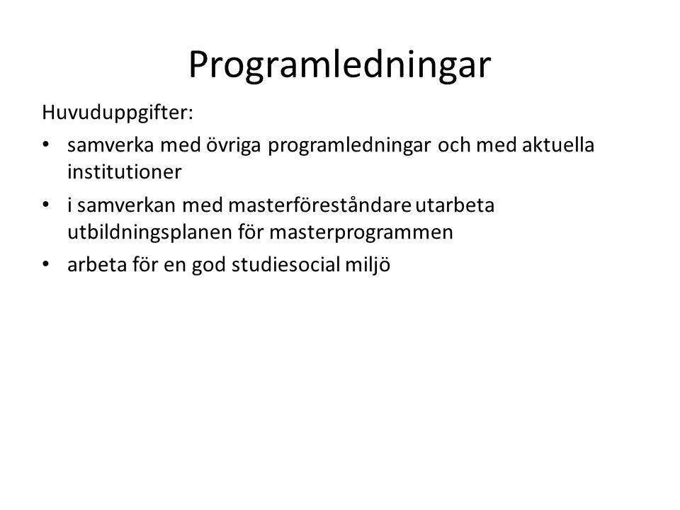 Programledningar Huvuduppgifter: