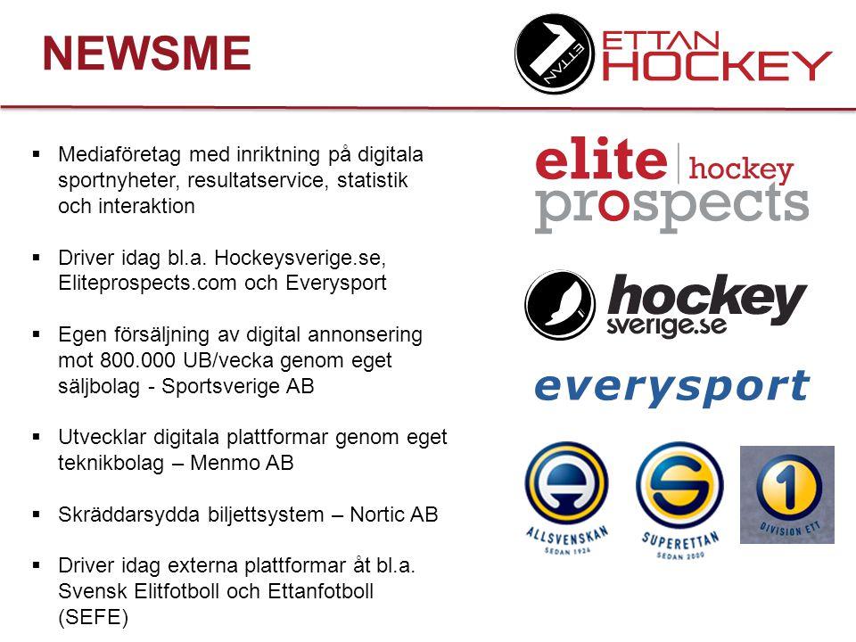NEWSME Mediaföretag med inriktning på digitala sportnyheter, resultatservice, statistik och interaktion.