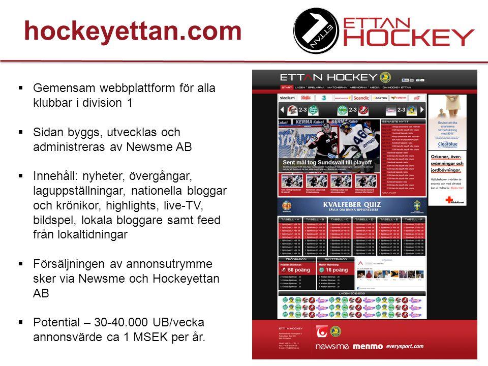 hockeyettan.com Gemensam webbplattform för alla klubbar i division 1