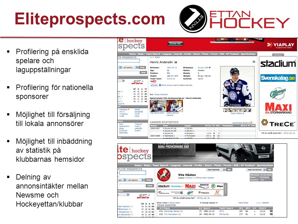 Eliteprospects.com Profilering på ensklida spelare och laguppställningar. Profilering för nationella sponsorer.