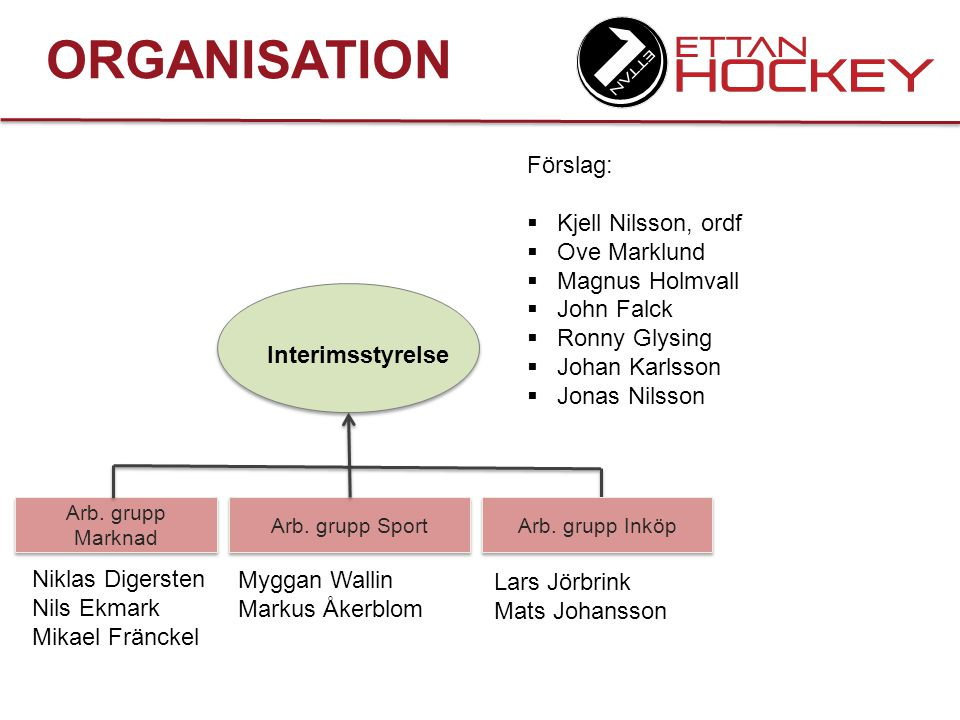 ORGANISATION Förslag: Kjell Nilsson, ordf Ove Marklund Magnus Holmvall