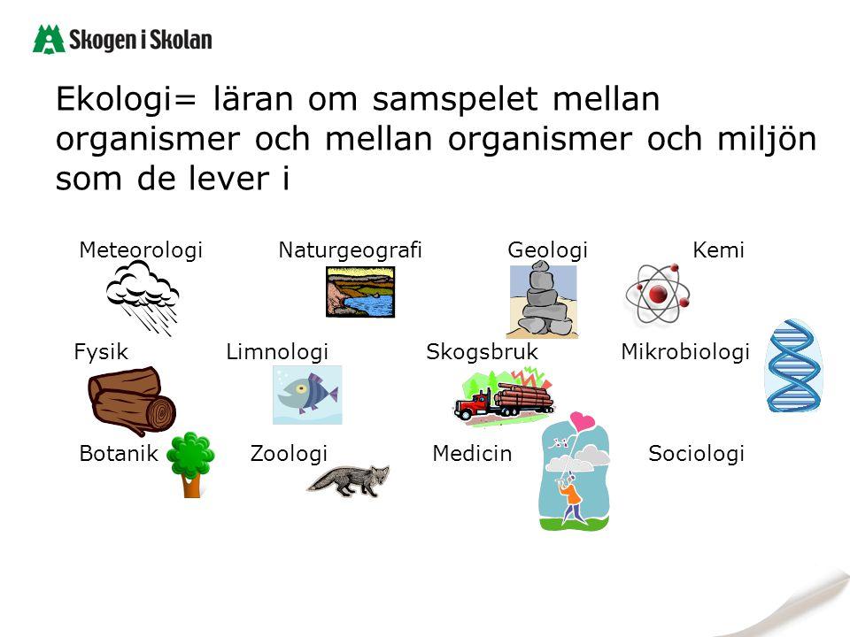Ekologi= läran om samspelet mellan organismer och mellan organismer och miljön som de lever i
