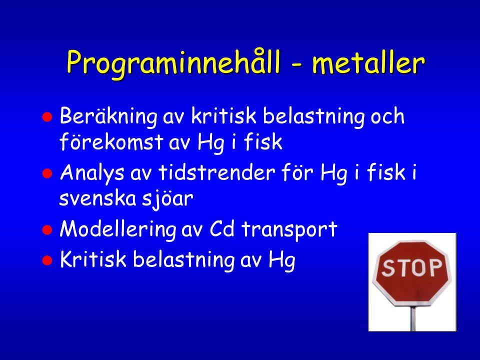 Programinnehåll - metaller