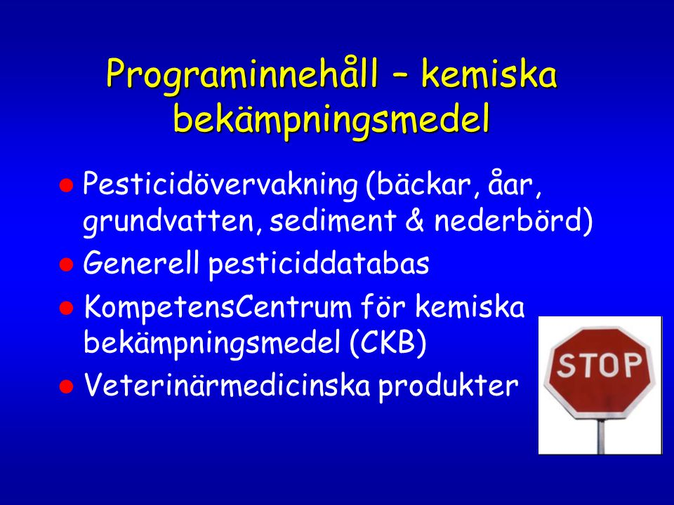 Programinnehåll – kemiska bekämpningsmedel