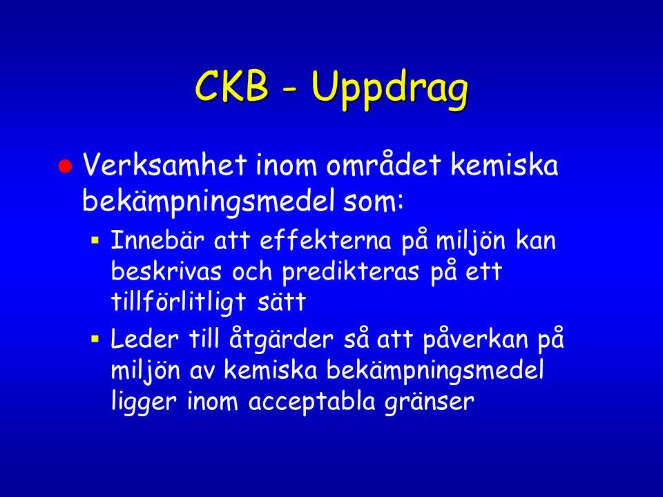 CKB - Uppdrag Verksamhet inom området kemiska bekämpningsmedel som: