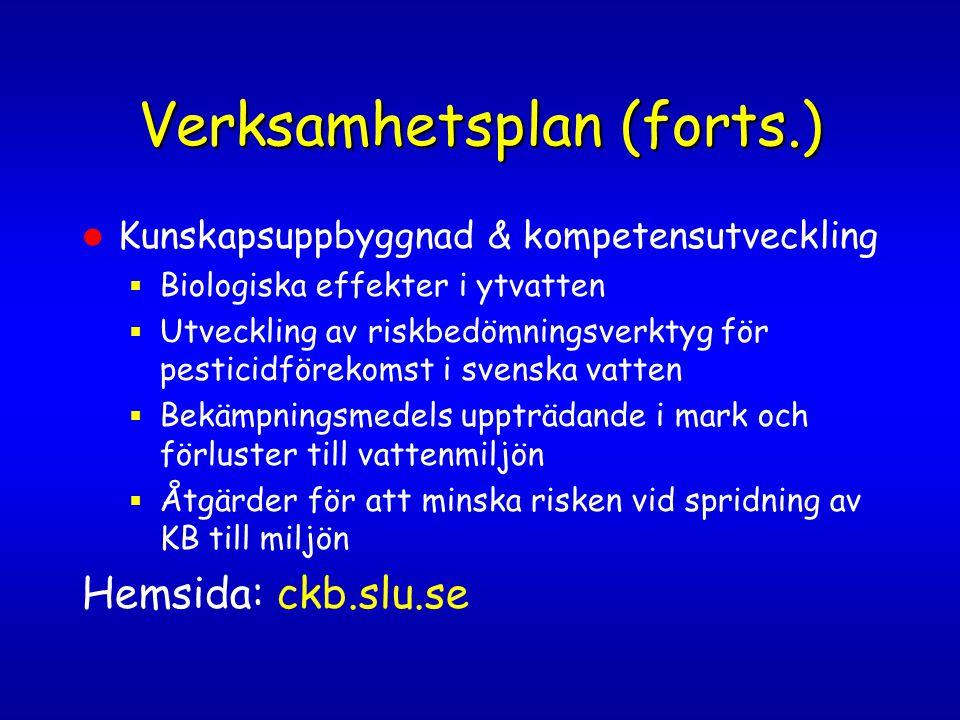 Verksamhetsplan (forts.)