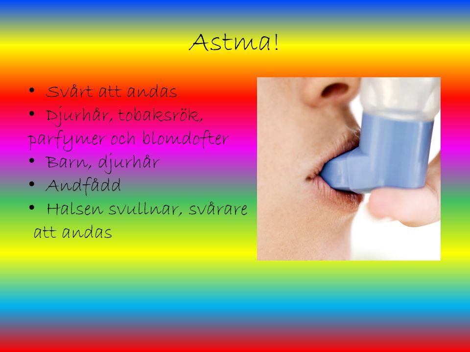 Astma! Svårt att andas Djurhår, tobaksrök, parfymer och blomdofter