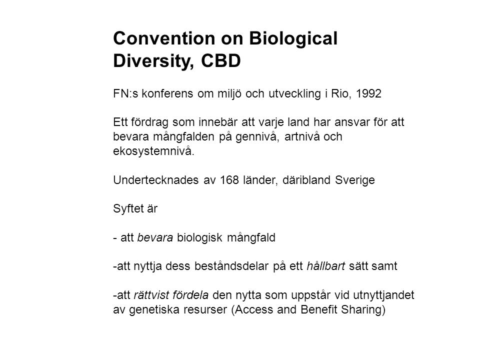 Convention on Biological Diversity, CBD