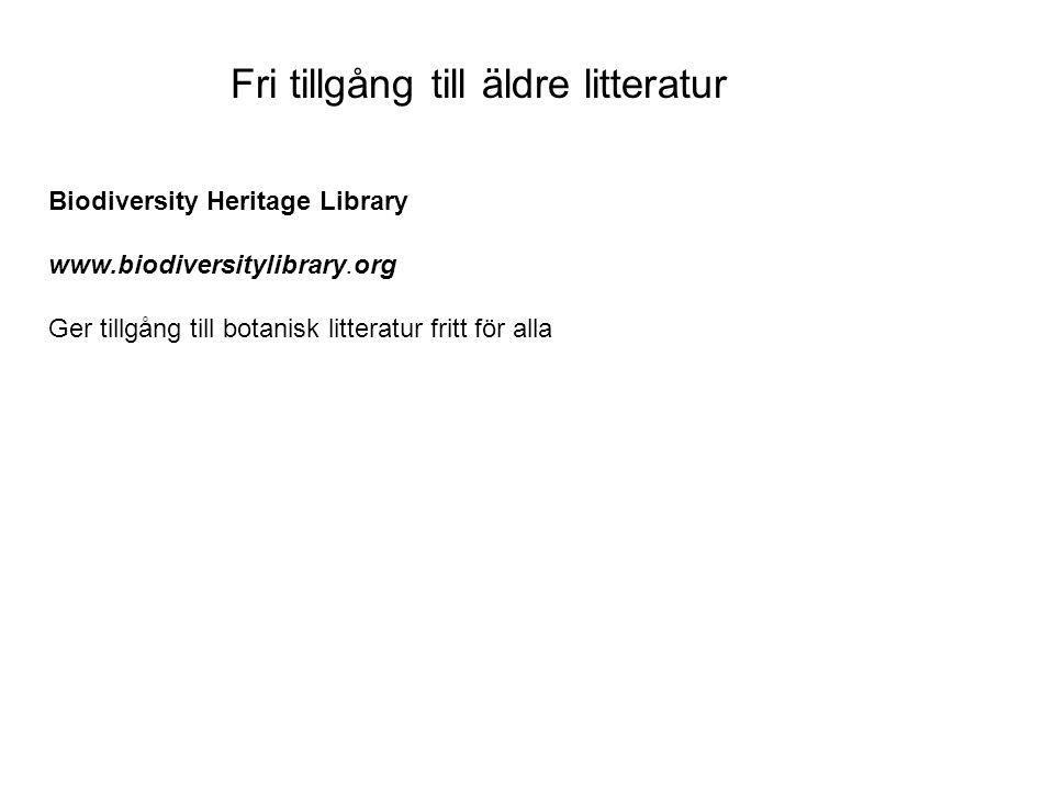Fri tillgång till äldre litteratur