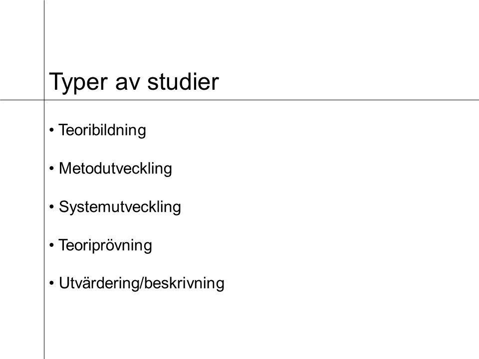 Typer av studier • Teoribildning • Metodutveckling • Systemutveckling