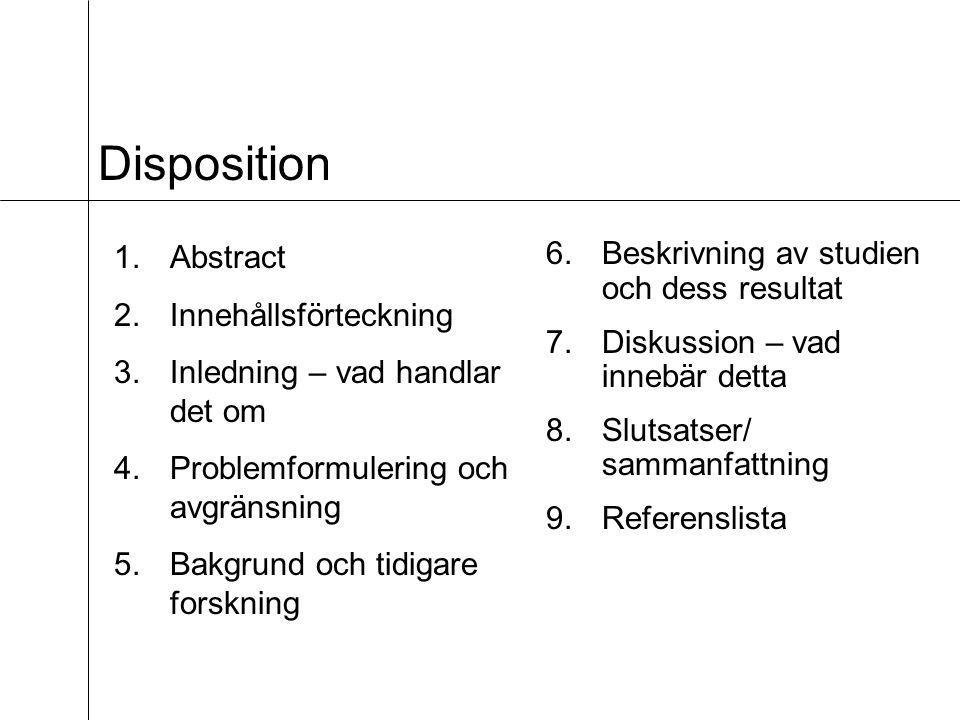 Disposition Abstract Innehållsförteckning