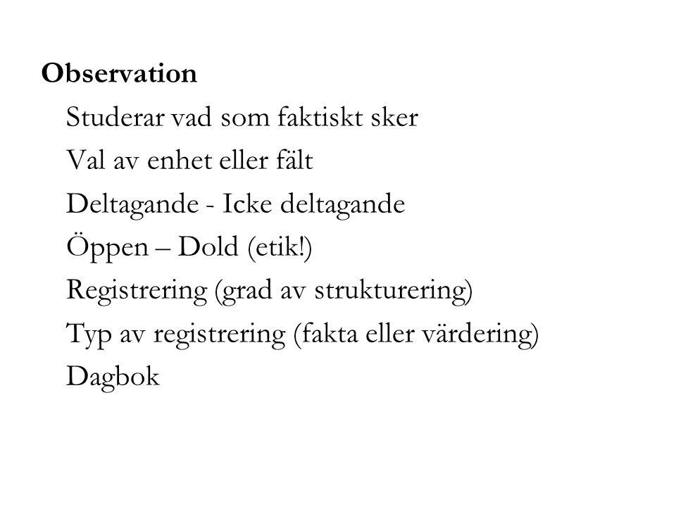 Observation Studerar vad som faktiskt sker. Val av enhet eller fält. Deltagande - Icke deltagande.