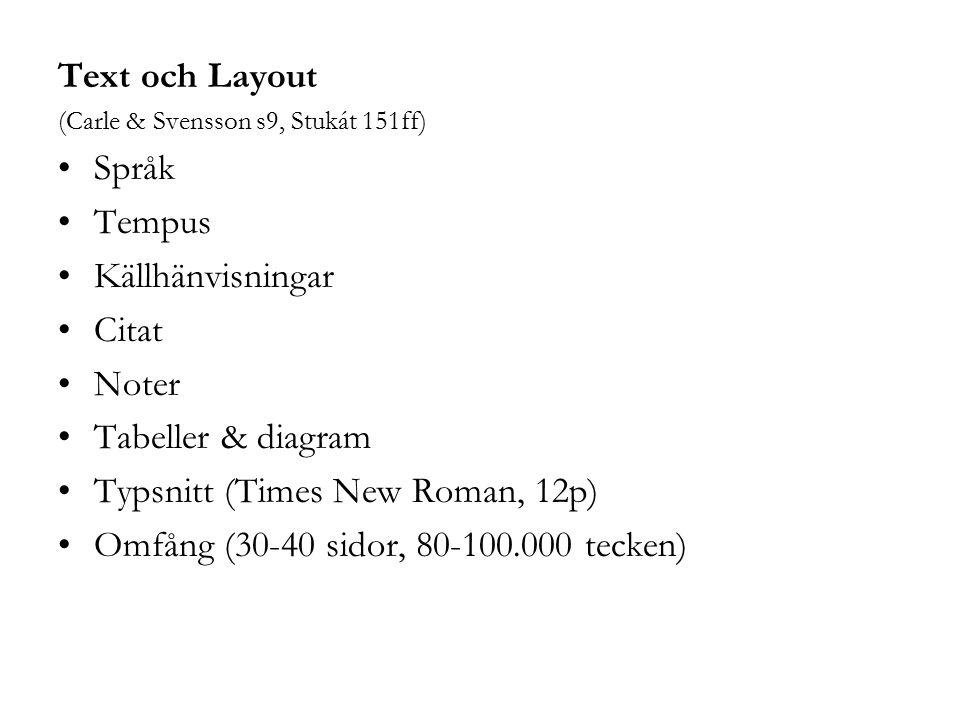 Typsnitt (Times New Roman, 12p)