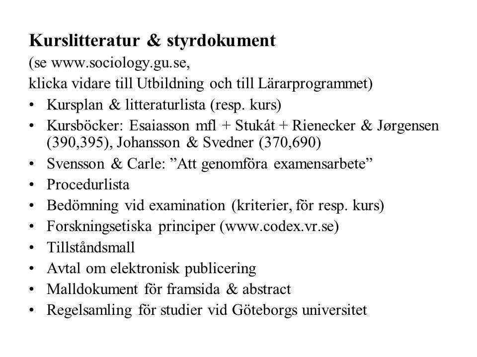Kurslitteratur & styrdokument