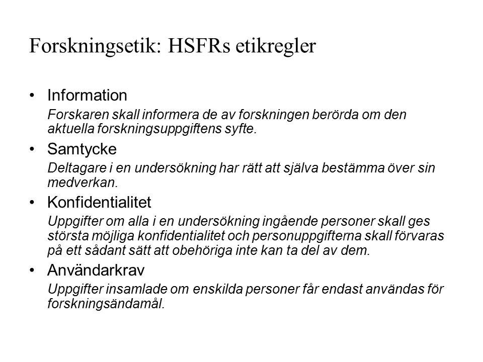 Forskningsetik: HSFRs etikregler