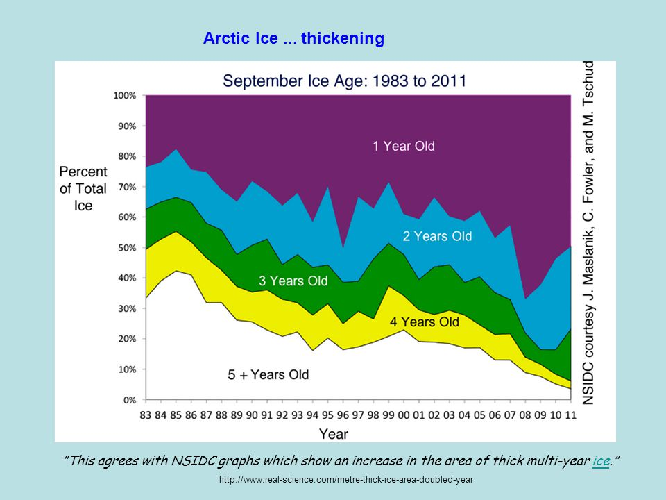 Arctic Ice ... thickening This agrees with NSIDC graphs which show an increase in the area of thick multi-year ice.