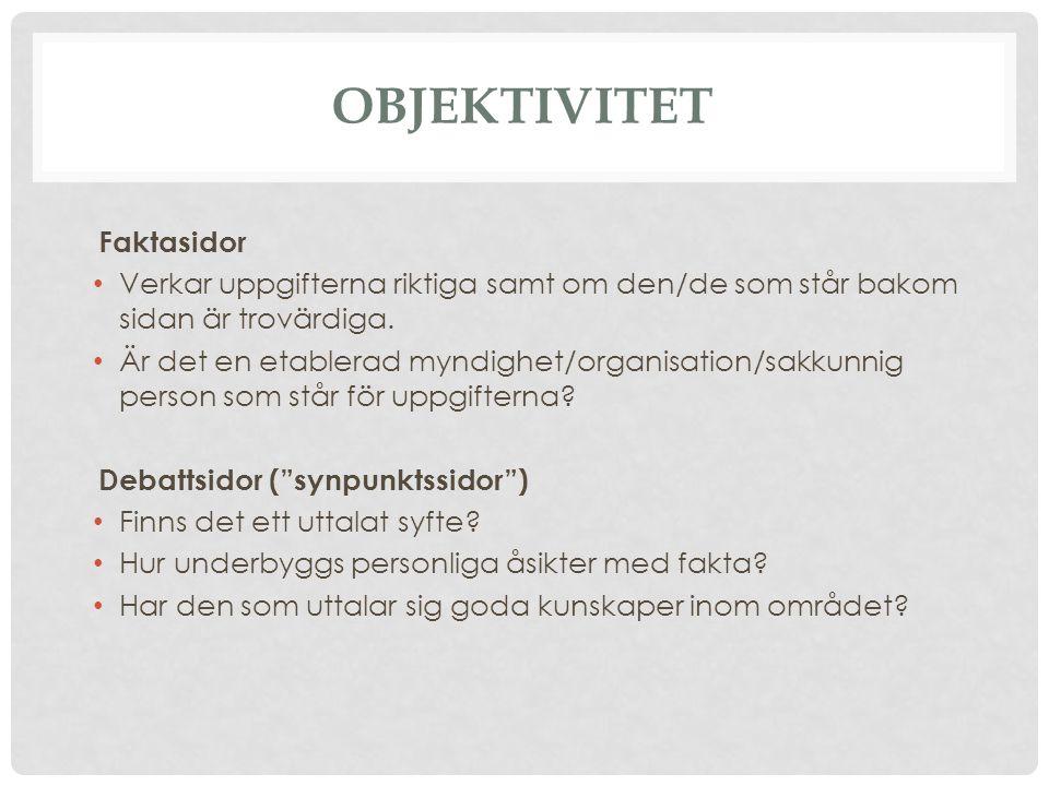 Objektivitet Faktasidor