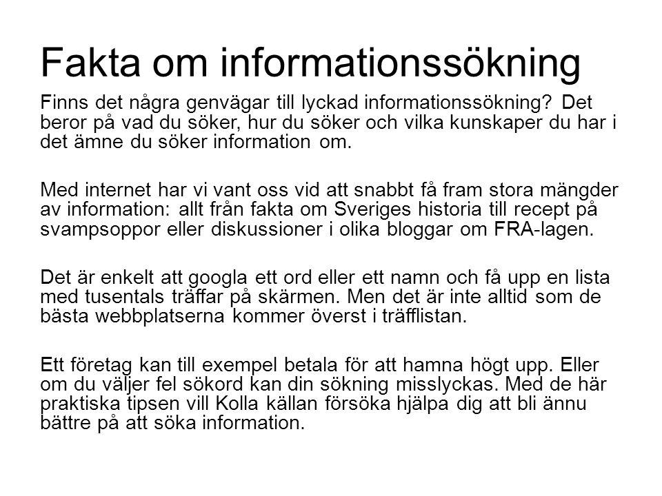 Fakta om informationssökning