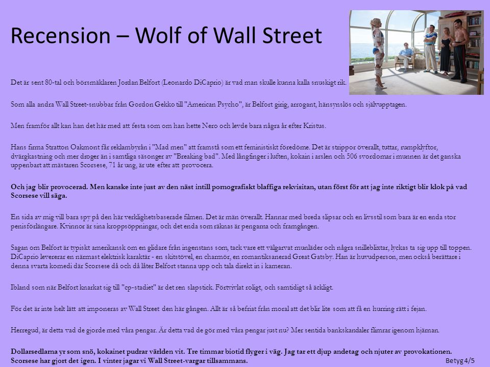 Recension – Wolf of Wall Street