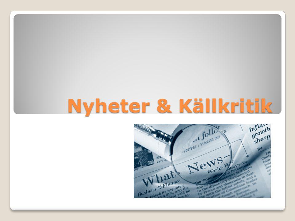 Nyheter & Källkritik
