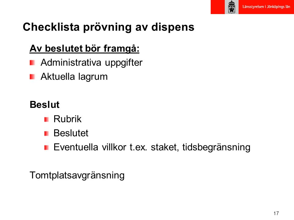 Checklista prövning av dispens
