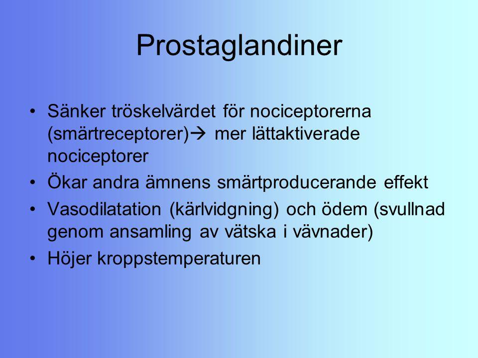 Prostaglandiner Sänker tröskelvärdet för nociceptorerna (smärtreceptorer) mer lättaktiverade nociceptorer.