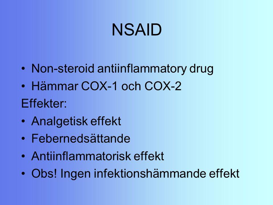 NSAID Non-steroid antiinflammatory drug Hämmar COX-1 och COX-2